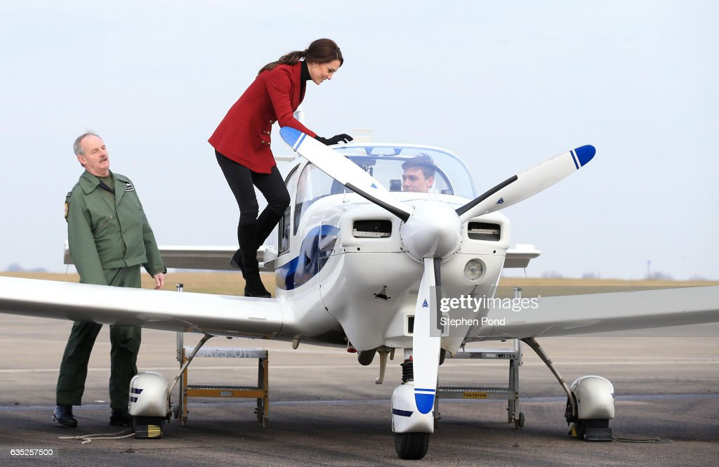 Catherine, Duchess of Cambridge is seen inspecting a training plane during a visit to the RAF Air Cadets at RAF Wittering on February 14, 2017 in Stamford, England. The Duchess of Cambridge is Royal Patron and Honorary Air Commandant of the Air Cadet Organisation.