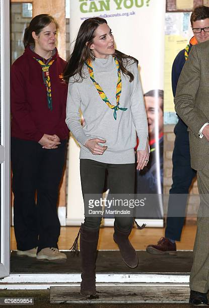 Catherine Duchess of Cambridge is seen leaving a official visit to a Cub Scout Pack Meeting to celebrate 100 years of Cubs on December 14 2016 in...