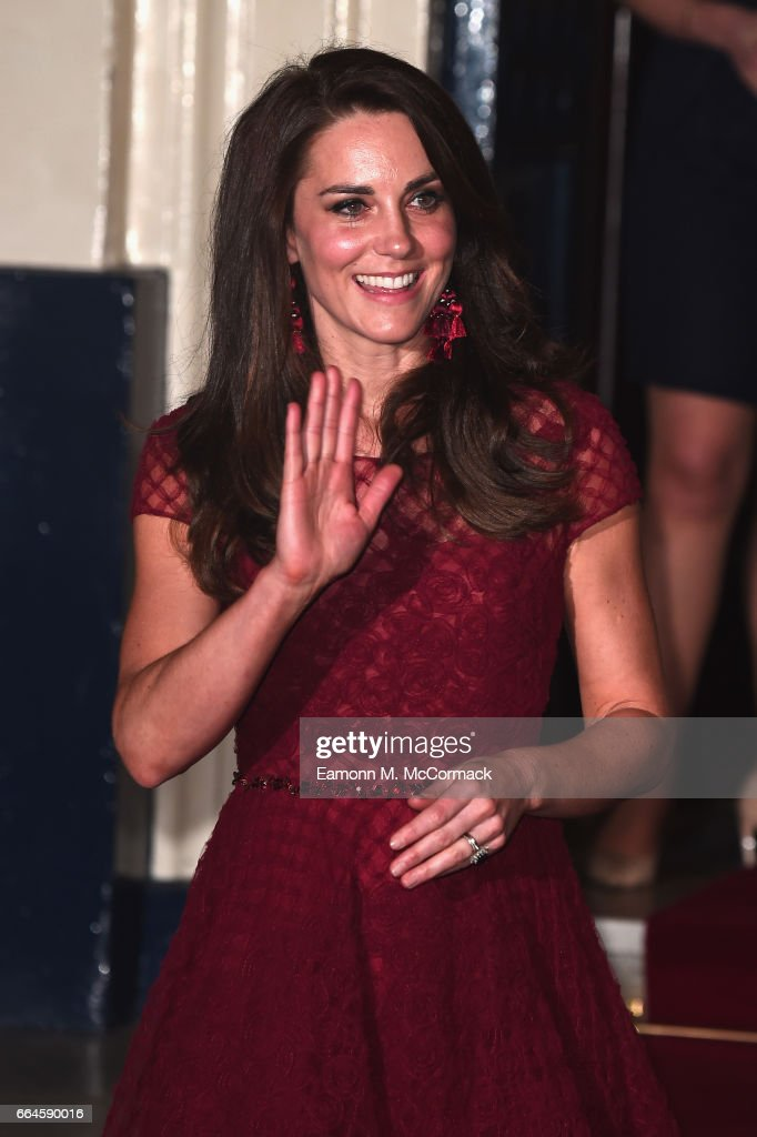 Catherine, Duchess of Cambridge is seen leaving after the opening night of '42nd Street' at Theatre Royal on April 4, 2017 in London, England. The opening night is a fundraising event for the East Anglia Children's Hospice (EACH) of which the Duchess of Cambridge is Patron.