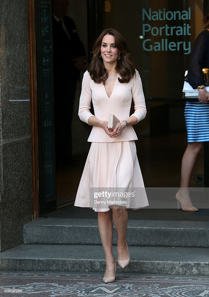 <a gi-track='captionPersonalityLinkClicked' href=/galleries/search?phrase=Catherine+-+Duchess+of+Cambridge&family=editorial&specificpeople=542588 ng-click='$event.stopPropagation()'>Catherine</a>, Duchess of Cambridge is seen leaving the 'Vogue 100: A Century Of Style' exhibition at National Portrait Gallery on May 4, 2016 in London, England. The Duchess appears on the cover of the centenary issue in June 2016.