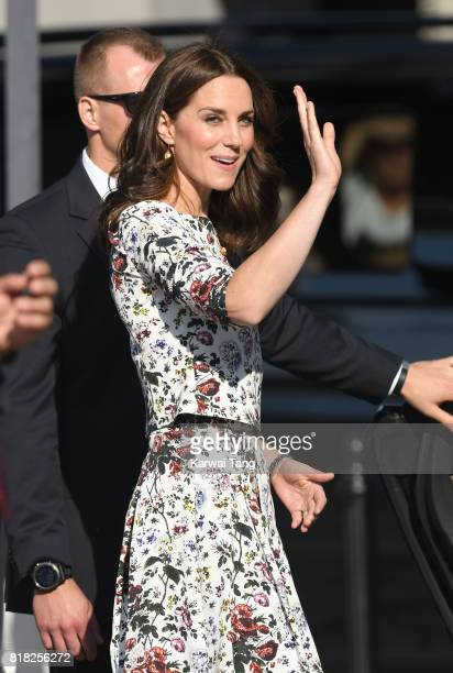 Catherine Duchess of Cambridge is seen on her way to the Solidarity Monument during day 2 of their Royal Tour of Poland and Germany on July 18 2017...