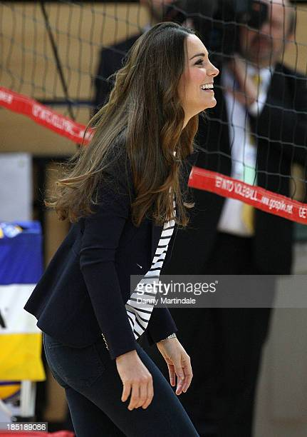 Catherine Duchess of Cambridge is seen playing volleyball at a Sportaid athlete workshop at the Copper Box in the Queen Elizabeth Olympic Park on...
