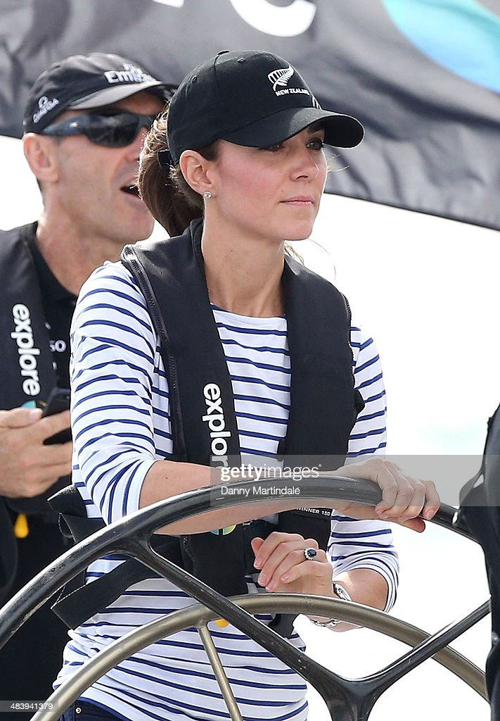 Catherine, Duchess of Cambridge is seen racing the New Zealand's Americas Cup Team yacht during their visit to Auckland Harbour on April 11, 2014 in Auckland, New Zealand. The Duke and Duchess of Cambridge are on a three-week tour of Australia and New Zealand, the first official trip overseas with their son, Prince George of Cambridge.