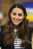 Catherine Duchess of Cambridge is seen talking to kids at a Sportaid athlete workshop at the Copper Box in the Queen Elizabeth Olympic Park on...