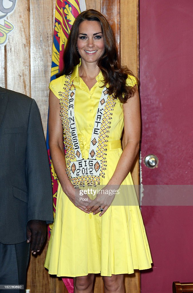 Catherine, Duchess of Cambridge is seen wearing a personalised necklace given to her as she visits the Prime Minister of the Solomon Islands Gordon Darcy Lilo and the cabinet on day 7 of their Diamond Jubilee Tour, on September 17, 2012 in Honiara, Solomon Islands. Prince William, Duke of Cambridge and Catherine, Duchess of Cambridge arrived in the Solomon Islands as the first stop of the Pacific leg of their nine day Diamond Jubilee Tour of the Far East and South Pacific.
