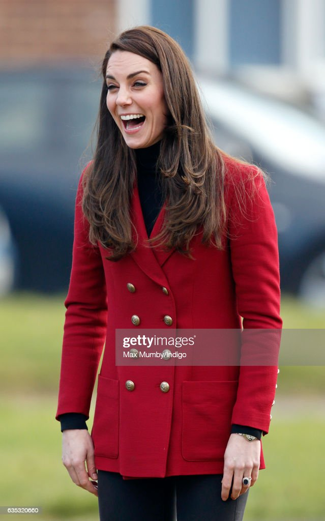 Catherine, Duchess of Cambridge joins in with a team building exercise during a visit to RAF Wittering to meet air cadets taking part in a half-term skills development camp on February 14, 2017 in Stamford, England. The Duchess of Cambridge is Royal Patron and Honorary Air Commandant of the Air Cadet Organisation.