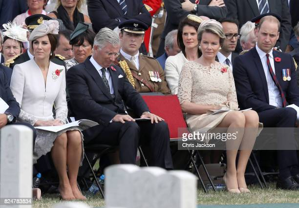 Catherine Duchess of Cambridge King Philippe of Belgium Queen Mathilde of Belgium and Prince William Duke of Cambridge listen to a reading by Prince...