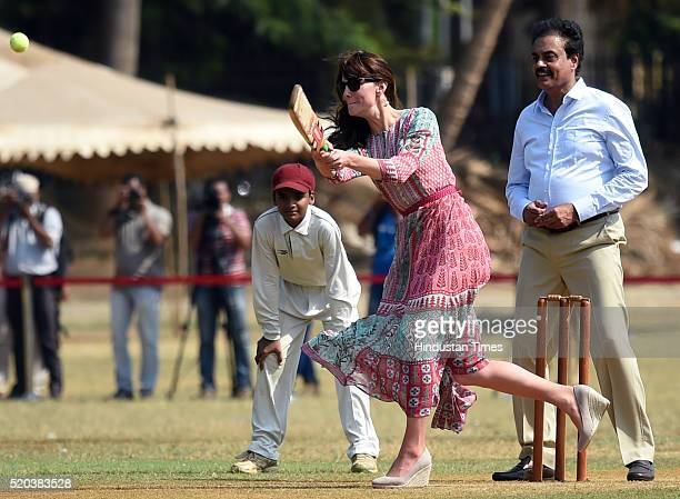 Catherine Duchess Of Cambridge known as Kate Middleton before her marriage and former Indian cricketer Dilip Vengsarkar enjoy cricket match at the...
