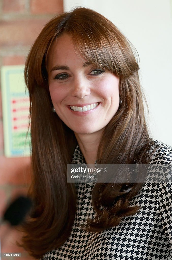 Catherine, Duchess of Cambridge laughs as she visits the Anna Freud Centre on September 17, 2015 in London, England. The visit was for the Duchess to see how the charity is working to lead a step change in children's and young people's mental health care.