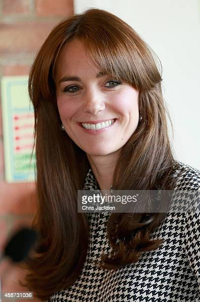 Catherine Duchess of Cambridge laughs as she visits the Anna Freud Centre on September 17 2015 in London England The visit was for the Duchess to see...