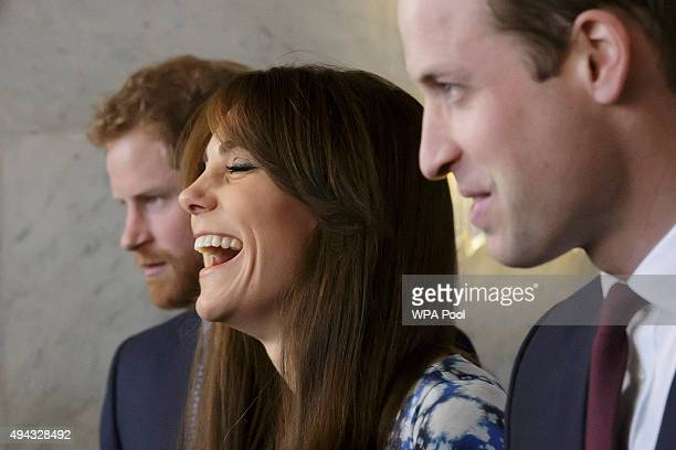Catherine Duchess of Cambridge laughs during a meeting of the Charities Forum at BAFTA on October 26 2015 in London United Kingdom