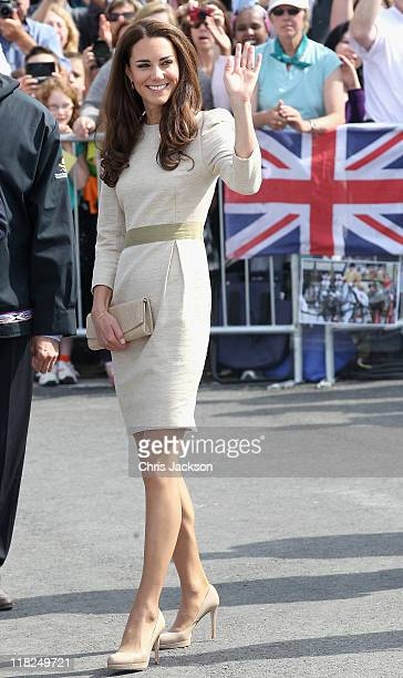 Catherine Duchess of Cambridge laughs during an official welcome ceremony at the Somba K'e Civic Plaza on July 5 2011 in Yellowknife Canada The newly...