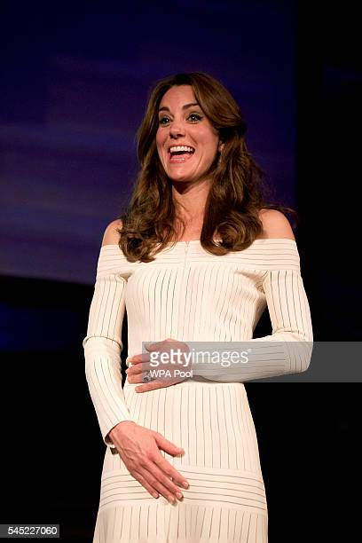 Catherine Duchess of Cambridge laughs during the acceptance speech of Germany's Martin Roth the Director of the Victoria and Albert Museum in his...