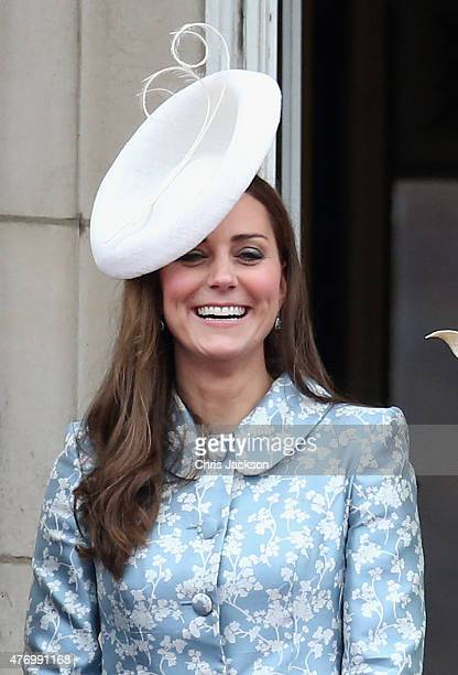 Catherine Duchess of Cambridge laughs on the balcony of Buckingham Palace during the Trooping the Colour on June 13 2015 in London England The...