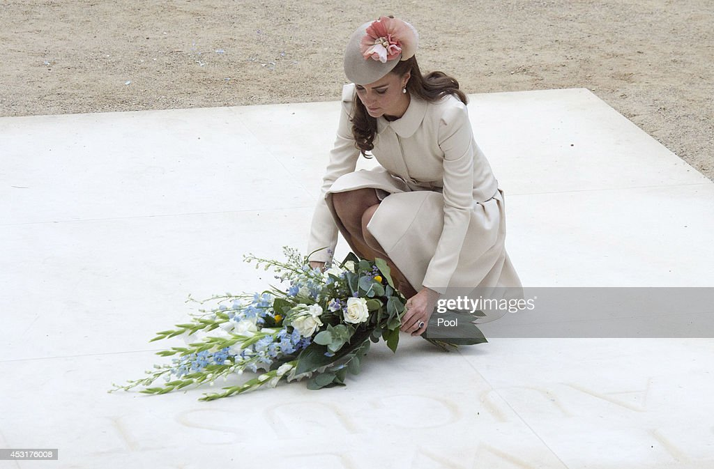 Catherine, Duchess of Cambridge lays a floral tribute at St Symphorien Military Cemetery on August 4, 2014 in Mons, Belgium. Monday 4th August marks the 100th Anniversary of Great Britain declaring war on Germany. In 1914 British Prime Minister Herbert Asquith announced at 11pm that Britain was to enter the war after Germany had violated Belgium's neutrality. The First World War or the Great War lasted until 11 November 1918 and is recognised as one of the deadliest historical conflicts with millions of casualties. A series of events commemorating the 100th Anniversary are taking place throughout the day.