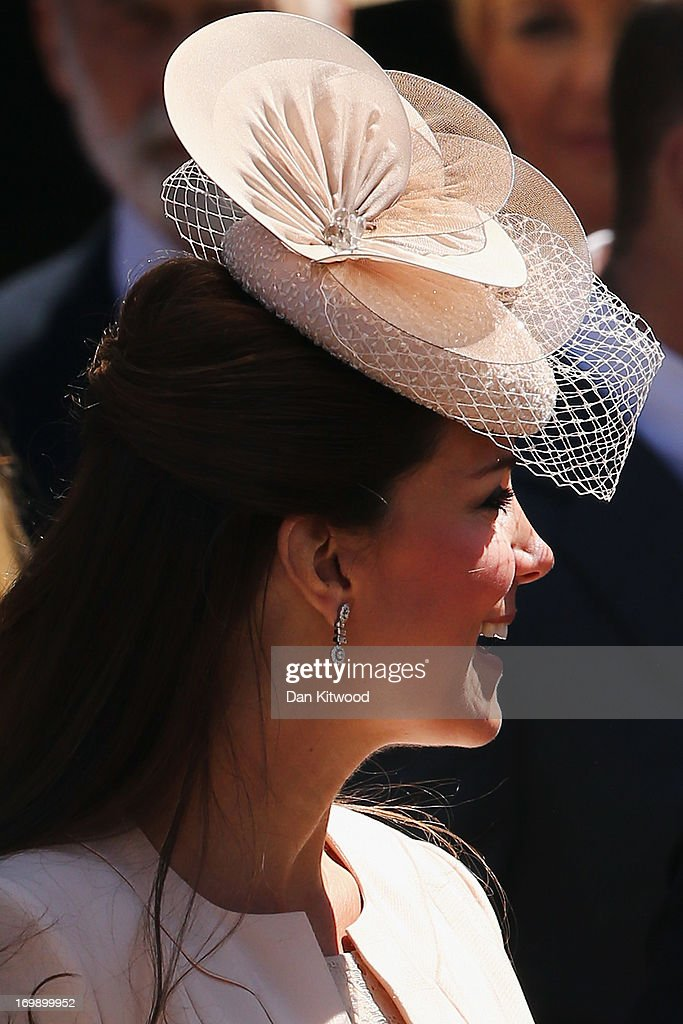 Catherine, Duchess of Cambridge leaves a service of celebration to mark the 60th anniversary of the Coronation Queen Elizabeth II at Westminster Abbey on June 4, 2013 in London, England. The Queen's Coronation took place on June 2, 1953 after a period of mourning for her father King George VI, following her ascension to the throne on February 6, 1952. The event 60 years ago was the first time a coronation was televised for the public.