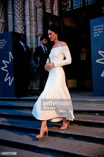 Catherine Duchess of Cambridge leaves after announcing the Victoria and Albert Museum as the winner of the Art Fund Museum of the Year 2016 prize at...