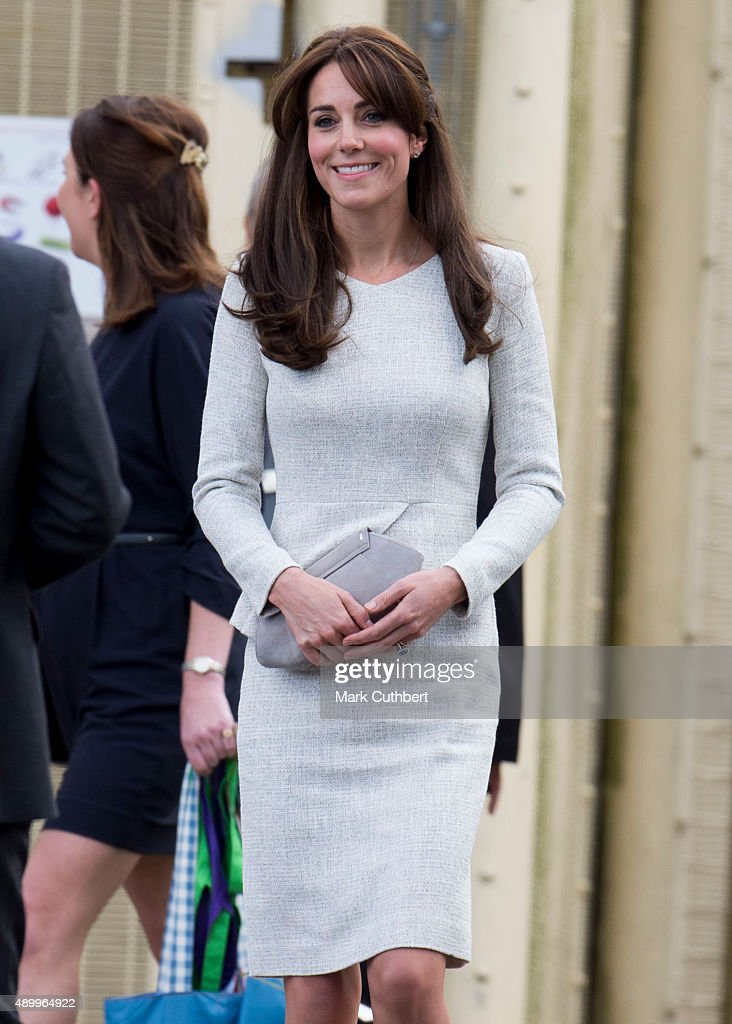 Catherine, Duchess of Cambridge leaves after visiting a rehabiltation centre at HMP Send on September 25, 2015 in Woking, England.