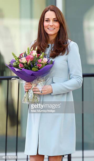 Catherine Duchess of Cambridge leaves after visiting the new Kensington Leisure Centre on January 19 2015 in London England