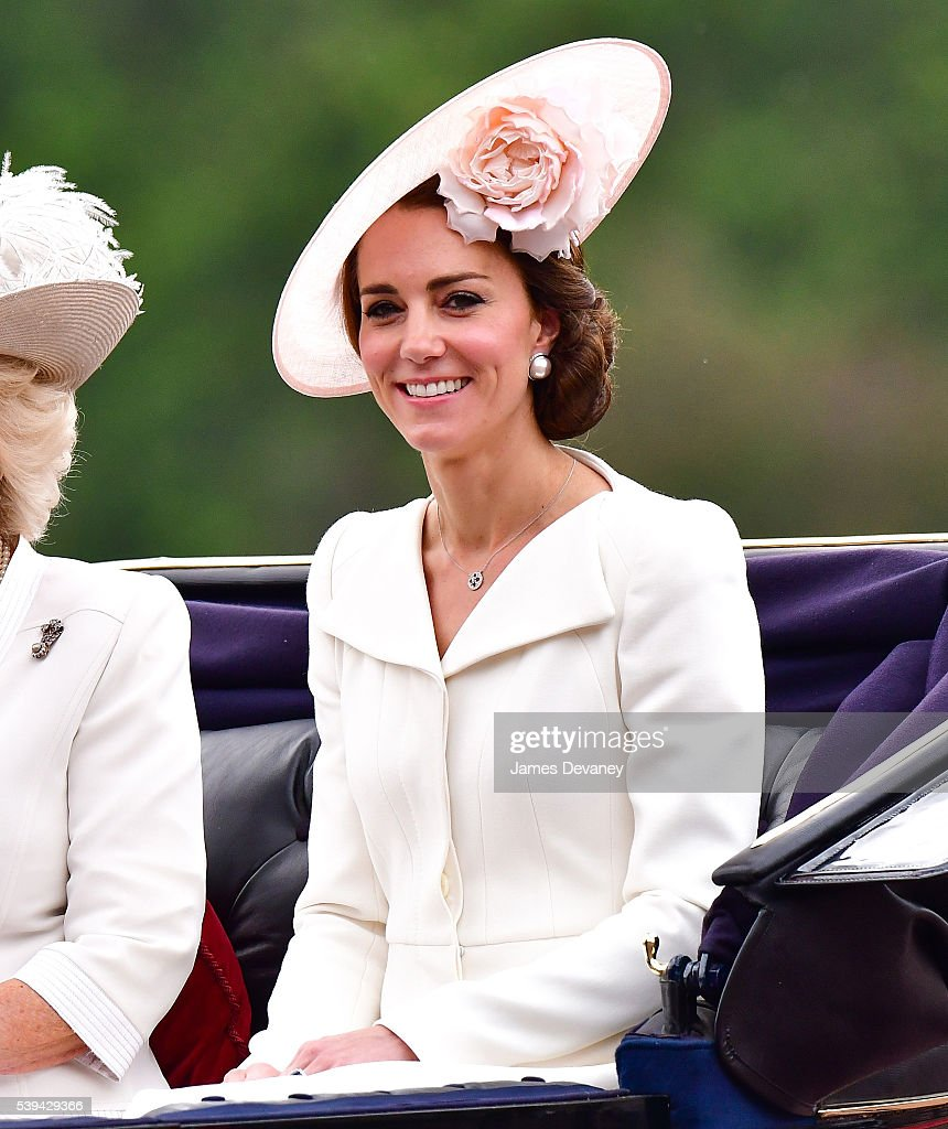 Catherine, Duchess of Cambridge leaves Buckingham Palace during the Trooping the Colour, this year marking the Queen's 90th birthday at The Mall on June 11, 2016 in London, England. The ceremony is Queen Elizabeth II's annual birthday parade and dates back to the time of Charles II in the 17th Century when the Colours of a regiment were used as a rallying point in battle.