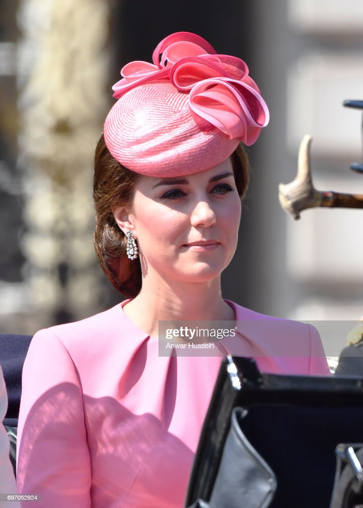 Catherine, Duchess of Cambridge leaves Buckingham Palace in an open carriage to attend the annual Trooping the Colour ceremony on June 17, 2017 in London, England.