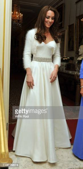 Catherine Duchess of Cambridge leaves Clarence House to travel to Buckingham Palace for the evening celebrations following her wedding to Prince...