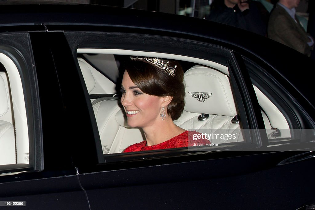 Catherine, Duchess of Cambridge leaves Kensington Palace, for Buckingham Palace to attend a State Banquet to honour the State Visit by China's President Xi Jinping, on October 20, 2015 in London, England. Catherine, Duchess of Cambridge arrives wearing a tiara made by Garrard London.