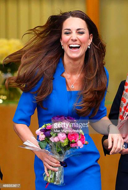 Catherine Duchess of Cambridge leaves Northolt High School after officially opening The ICAP Art Room on February 14 2014 in Ealing England
