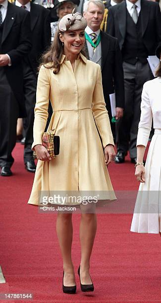 Catherine Duchess of Cambridge leaves St Giles Cathederal after the Thistle Ceremony on July 5 2012 in Edinburgh Scotland Prince William Duke of...