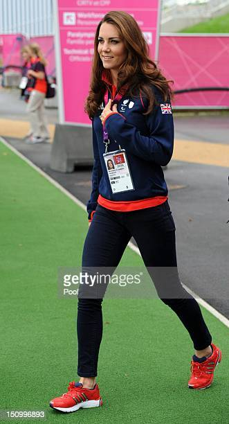 Catherine Duchess of Cambridge leaves the Copper Box after watching Great Britain play Lithuania in Goalball at the London 2012 Paralympic Games on...
