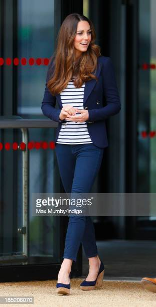 Catherine Duchess of Cambridge leaves the Copper Box Arena in the Queen Elizabeth Olympic Park after attending a SportsAid Athlete Workshop on...