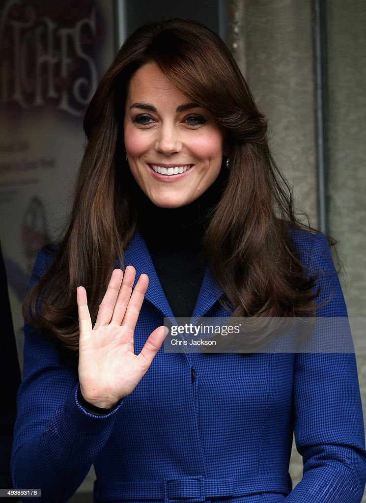 Catherine Duchess of Cambridge leaves the Dundee Rep Theatre as part of an away day to the Scottish City on October 23 2015 in Dundee Scotland