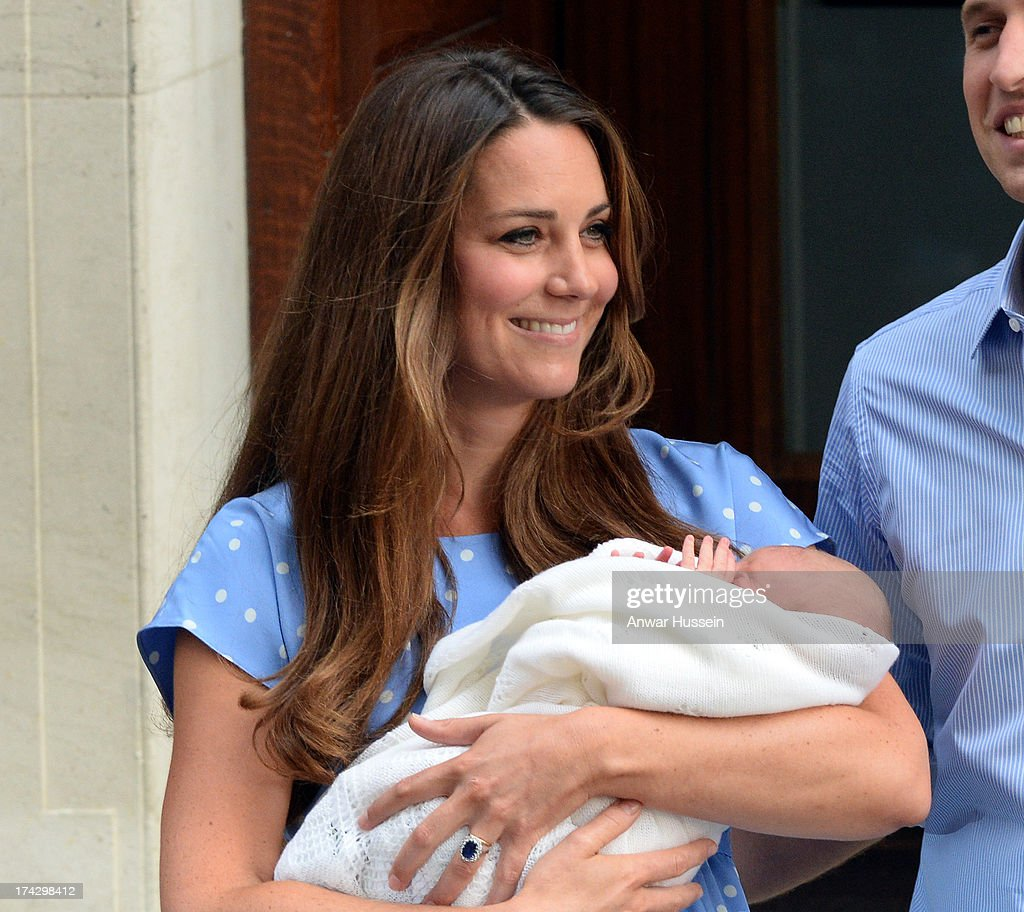 Catherine, Duchess of Cambridge leaves the Lindo Wing of St. Mary's hospital with her newborn son on July 23, 2013 in London, England.
