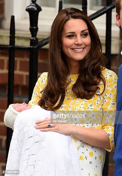 Catherine Duchess of Cambridge leaves The Lindo Wing of St Mary's Hospital with her newborn daughter on May 2 2015 in London England
