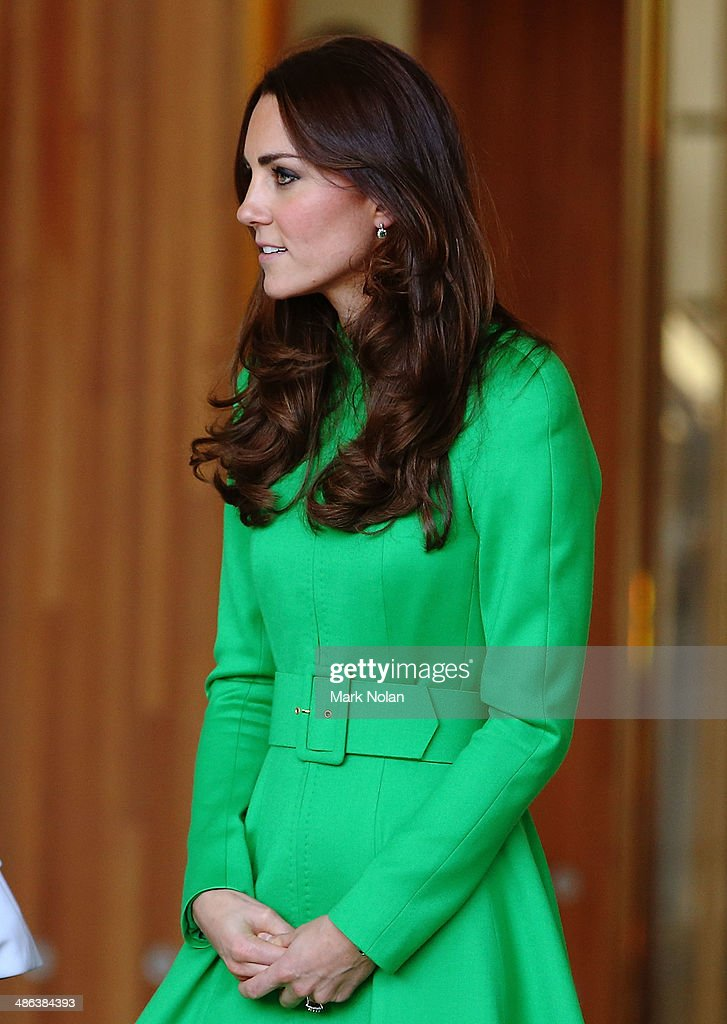 Catherine, Duchess of Cambridge leaves the National Portrait Gallery on April 24, 2014 in Canberra, Australia. The Duke and Duchess of Cambridge are on a three-week tour of Australia and New Zealand, the first official trip overseas with their son, Prince George of Cambridge.