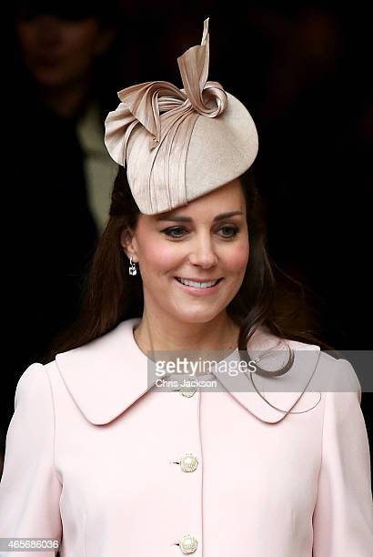 Catherine Duchess of Cambridge leaves the Observance for Commonwealth Day Service at Westminster Abbey on March 9 2015 in London England