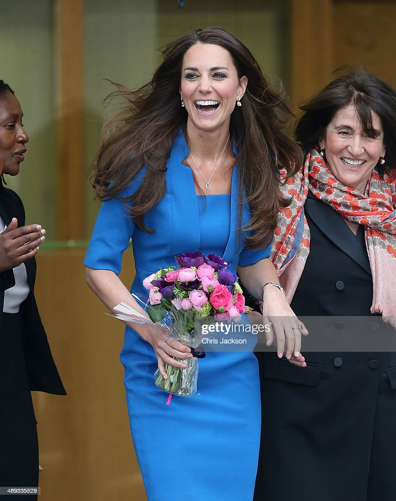 Catherine, Duchess of Cambridge leaves the opening of the ICAP Art Room at Northolt High School on February 14, 2014 in Ealing, England.