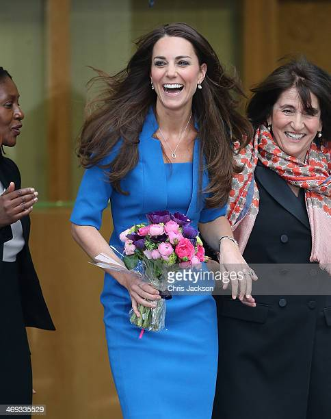 Catherine Duchess of Cambridge leaves the opening of the ICAP Art Room at Northolt High School on February 14 2014 in Ealing England