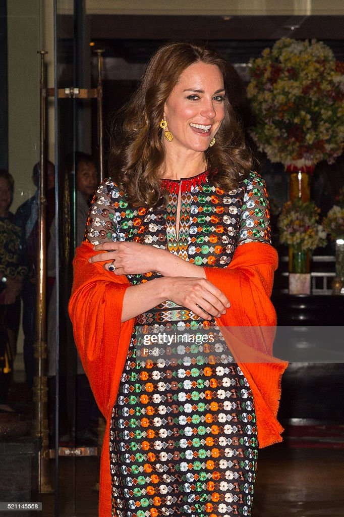 Catherine Duchess of Cambridge leaves the Taj Tashi hotel to attend a dinner with King Jigme Khesar Namgyel Wangchuck and Queen Jetsun Pema on day...