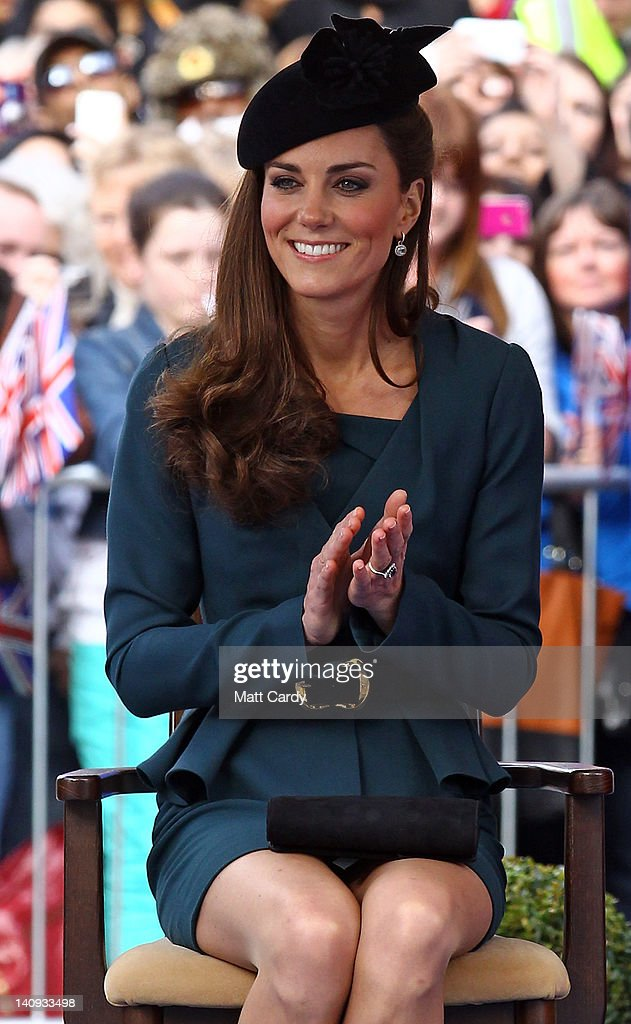 Catherine, Duchess of Cambridge listens to a welcome speech in Leicester city centre on March 8, 2012 in Leicester, England. The royal visit to Leicester marks the first date of Queen Elizabeth II's Diamond Jubilee tour of the UK between March 8 and July 25, 2012.