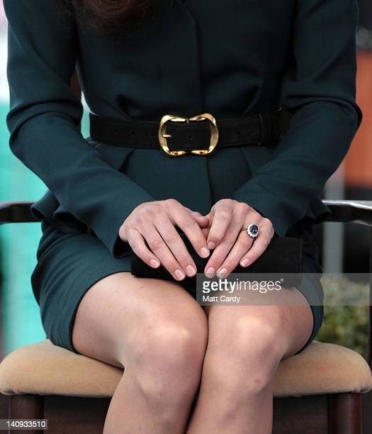 Catherine Duchess of Cambridge listens to a welcome speech in Leicester city centre on March 8 2012 in Leicester England The royal visit to Leicester...