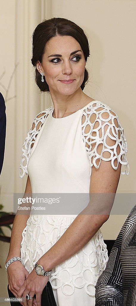 Catherine, Duchess of Cambridge listens to an address by the Governor General Peter Cosgrove during a reception hosted by the Governor General Peter Cosgrove and Her excellency Lady Cosgrove at Government House on April 24, 2014 in Canberra, Australia. The Duke and Duchess of Cambridge are on a three-week tour of Australia and New Zealand, the first official trip overseas with their son, Prince George of Cambridge.