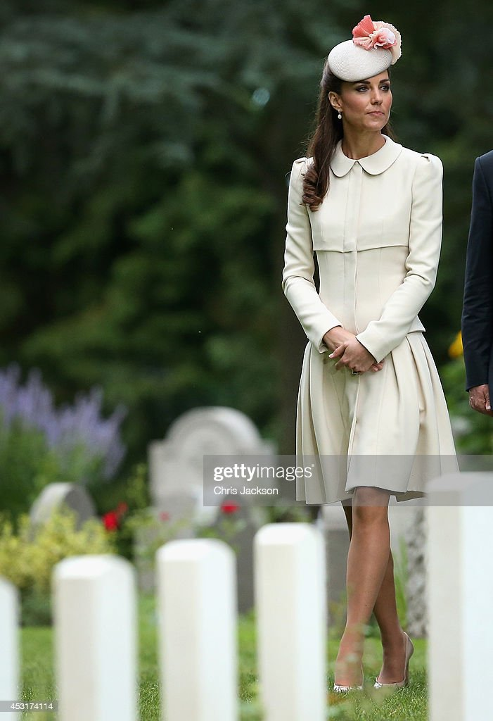 Catherine, Duchess of Cambridge looks at war graves at St Symphorien Military Cemetery on August 4, 2014 in Mons, Belgium. Monday 4th August marks the 100th Anniversary of Great Britain declaring war on Germany. In 1914 British Prime Minister Herbert Asquith announced at 11pm that Britain was to enter the war after Germany had violated Belgium's neutrality. The First World War or the Great War lasted until 11 November 1918 and is recognised as one of the deadliest historical conflicts with millions of casualties. A series of events commemorating the 100th Anniversary are taking place throughout the day.