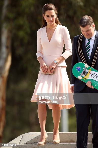 Catherine Duchess of Cambridge looks during a tour of the skate park of Elizabeth on April 23 2014 in Adelaide Australia The Duke and Duchess of...