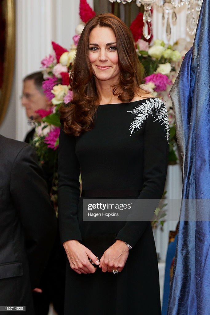 Catherine, Duchess of Cambridge looks on during a state reception at Government House on April 10, 2014 in Wellington, New Zealand. The Duke and Duchess of Cambridge are on a three-week tour of Australia and New Zealand, the first official trip overseas with their son, Prince George of Cambridge.
