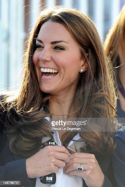 Catherine Duchess of Cambridge looks on during the Eventing Cross Country Equestrian event on Day 3 of the London 2012 Olympic Games at Greenwich...