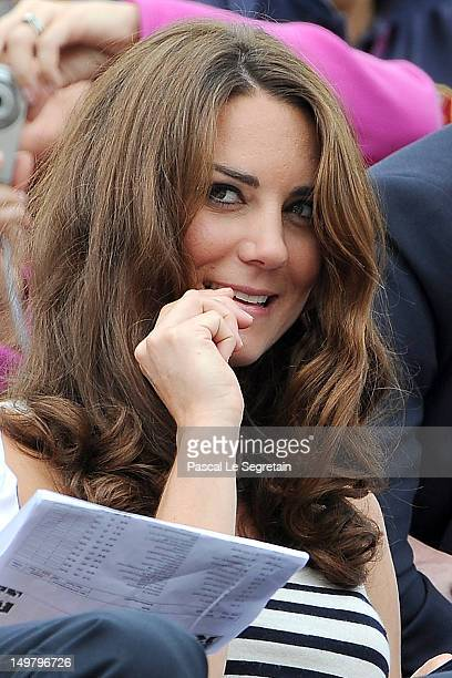 Catherine Duchess of Cambridge looks on during the Show Jumping Eventing Equestrian on Day 4 of the London 2012 Olympic Games at Greenwich Park on...