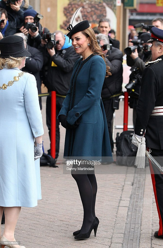 Catherine, Duchess of Cambridge makes an official visit to Baker Street Underground Station on March 20, 2013 in London, England.