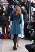Catherine Duchess of Cambridge makes an official visit to Baker Street Underground Station on March 20 2013 in London England