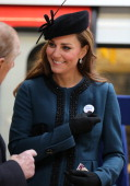 Catherine Duchess of Cambridge makes an official visit to Baker Street Underground Station to mark 150th anniversary of the London Underground on...